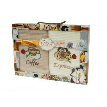 Набор полотенец для кухни Gursan Coffee 40*60 см вафельные+махровые в коробке 2шт