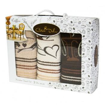 Набор полотенец для кухни Gursan Coffee 30*50 см махровые в коробке 3шт