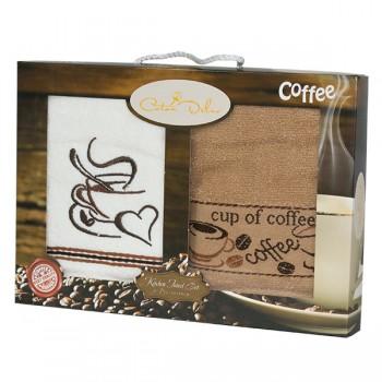 Набор полотенец для кухни Gursan Coffee 40*60 см махровые в коробке 2шт
