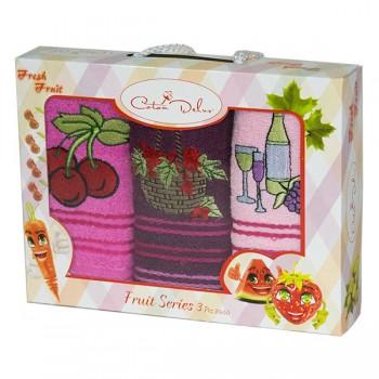 Набор полотенец для кухни Gursan Fruits 30*50 см махровые в коробке 3шт