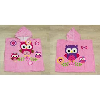 Полотенце-пончо Турция Owls 55*60*80 см велюровое детское