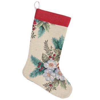Сапожок для подарков LiMaSo Рождественский букет 25*37 см гобеленовый новогодний  арт.EDEN481-CH.25х37