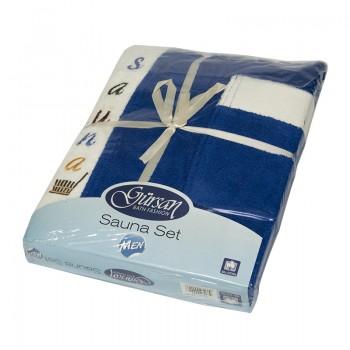 Набор полотенец для сауны Gursan Sauna Cotton Man махровый мужской 3 предмета голубой Blue