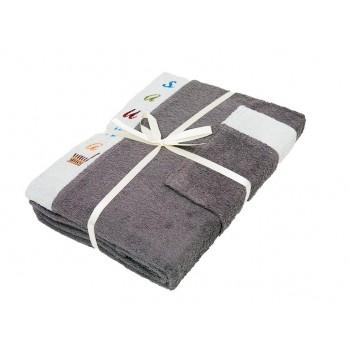 Набор полотенец для сауны Gursan Sauna Cotton Man махровый мужской 3 предмета серый  Gray