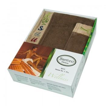 Набор полотенец для сауны Gursan Sauna Bamboo Man бамбуковый мужской 2 предмета коричневый Brown