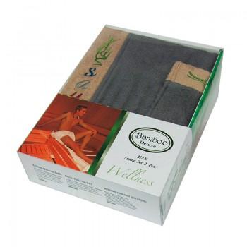 Набор полотенец для сауны Gursan Sauna Bamboo Man бамбуковый мужской 2 предмета серый Gray