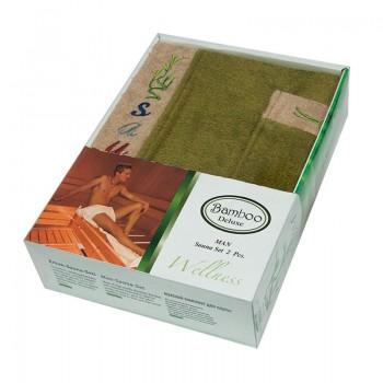 Набор полотенец для сауны Gursan Sauna Bamboo Man бамбуковый мужской 2 предмета зеленый Green