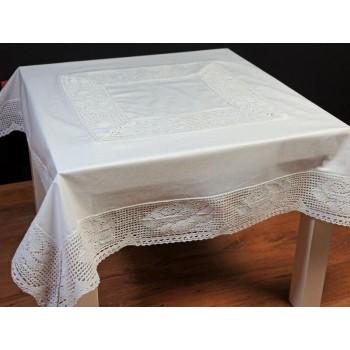 Скатерть LiMaSo 150*350 см хлопковая кружевная белая арт.KOR20.150х350