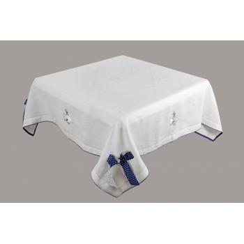 Скатерть Limaso Гуси 140*180 см льняная белая арт.GU01.140x180