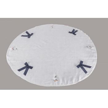 Скатерть Limaso Гуси D-140 см льняная круглая белая арт.GU02.Ø140