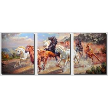Картина модульная по номерам Babylon Дикие лошади 50*120 см 3 модуля арт.DZ211