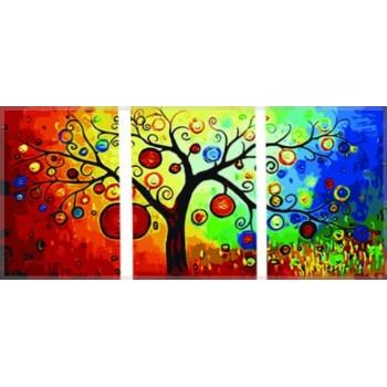 Картина модульная по номерам Babylon Денежное дерево 50*150 см 3 модуля арт.DZ3011