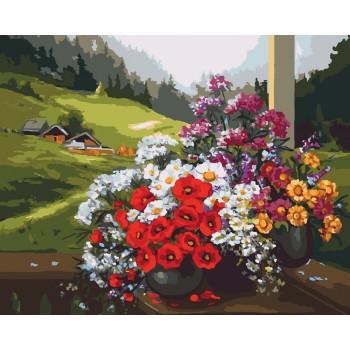 Картина по номерам Идейка Букеты на окне 40*50 см (без коробки) арт.KHO2212