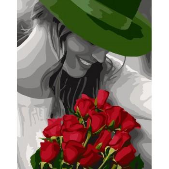 Картина по номерам Идейка Девушка в зеленой шляпе 40*50 см арт.KHO4705