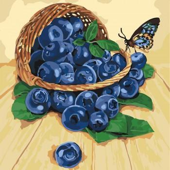 Картина по номерам Идейка Черника в корзинке 40*40 см (без коробки) арт.KHO5556