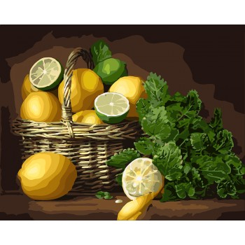 Картина по номерам Идейка Корзина лимонов и лаймов 40*50 см (без коробки) арт.KHO5589