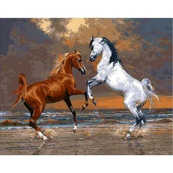 Картина по номерам Mariposa Лошади на берегу океана 40*50 см (в коробке) арт.MR-Q2083
