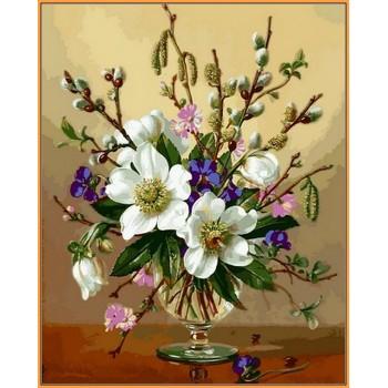 Картина по номерам Babylon Premium Белоснежные цветы 40*50 см арт.NB1059-VPR