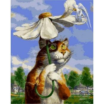 Картина по номерам Babylon Premium Кот с ромашкой 40*50 см (в коробке) арт.NB2076R