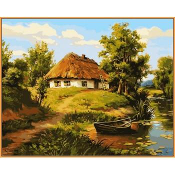 Картина по номерам Babylon Premium Домик возле пруда 40*50 см арт.NB356R