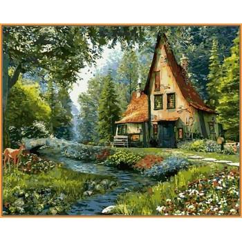 Картина по номерам Babylon Premium Дом на опушке леса 40*50 см (в коробке) арт.NB918R