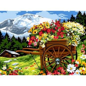 Картина по номерам Babylon Тележка цветочника 30*40 см (в коробке) арт.VK093