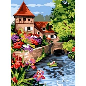 Картина по номерам Babylon Мостик возле мельницы 30*40 см арт.VK096