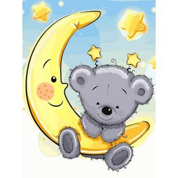 Картина по номерам Babylon Мишка на луне 30*40 см (в коробке) арт.VK228