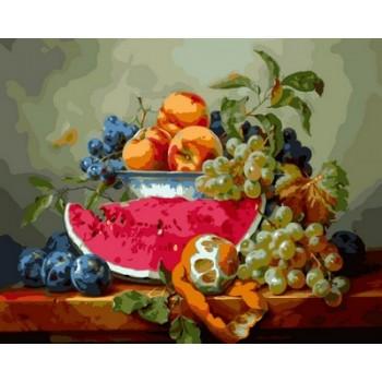 Картина по номерам Babylon Натюрморт с арбузом и виноградом 40*50 см арт.VP597