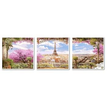 Картина модульная по номерам Babylon Весенний Париж 50*150 см 3 модуля арт.VPT006