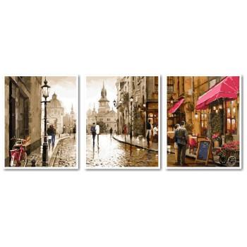 Картина модульная по номерам Babylon Краски вечернего города 50*150 см 3 модуля арт.VPT027