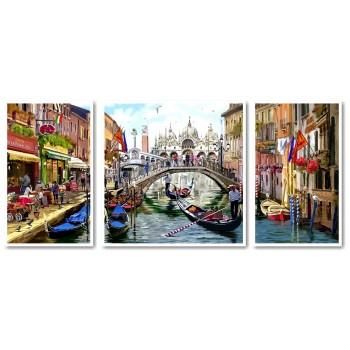 Картина модульная по номерам Babylon Каникулы в Венеции 50*110 см 3 модуля арт.VPT043