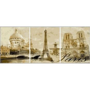 Картина модульная по номерам Babylon Париж 50*90 см 3 модуля арт.MS14029
