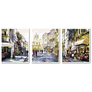 Картина модульная по номерам Babylon Летний вечер в Париже 50*150 см 3 модуля арт.VPT026