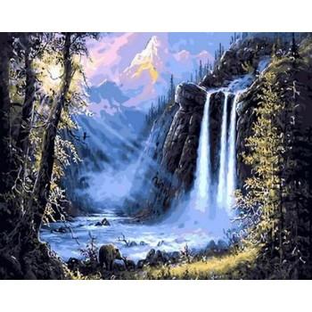 Картина по номерам Mariposa Горный водопад 40*50 см (в коробке) арт.MR-Q493